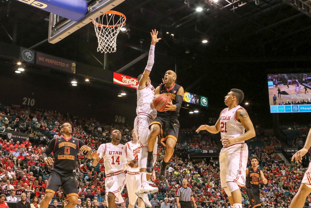 NCAA College Basketball Julian Jacobs elevating in the first half game action during the 2016 PAC-12 Basketball Tournament game between USC Trojans and the Utah Utes at MGM Grand Las Vegas, NV. (Photo by Jevone Moore/Full Image 360)