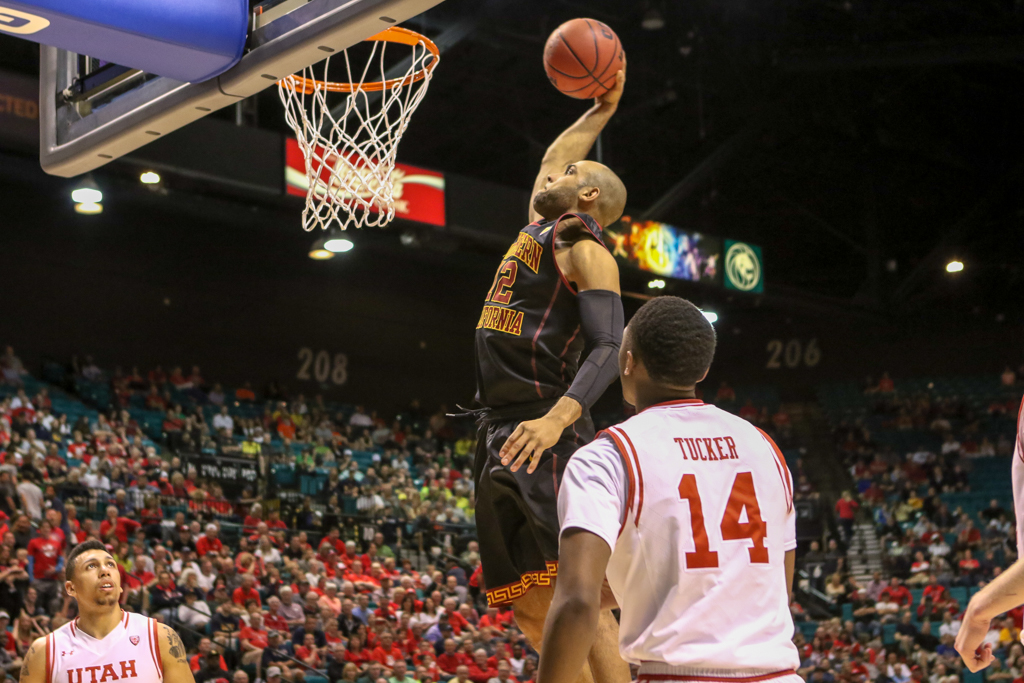 NCAA College Basketball first half game action during the 2016 PAC-12 Basketball Tournament game between USC Trojans and the Utah Utes at MGM Grand Las Vegas, NV. (Photo by Jevone Moore/Full Image 360)