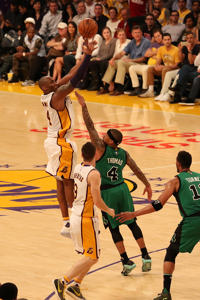 NBA Basketball game action between the Boston Celtics vs the Los Angeles Lakers at Staples Center in Los Angeles, Ca on April 3, 2016. (Photo by Jevone Moore/Full Image 360)