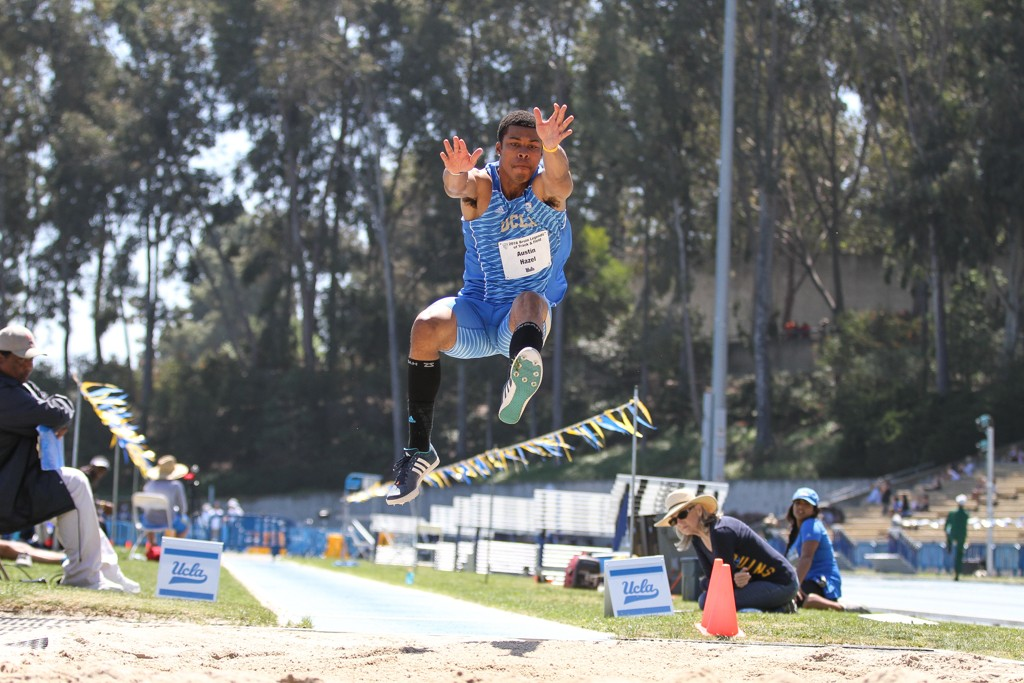 NCAA 2016 Track & Field Bruin Legends of Track and Field Invitational Austin Hazel inflight in the long jump on campus at Drake Stadium in Los Angeles, CA. (Photo by Jevone Moore/Full Image 360)