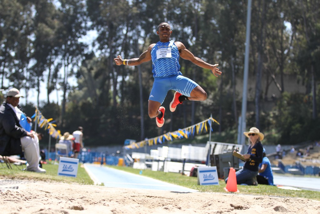 NCAA 2016 Track & Field Bruin Legends of Track and Field Invitational Darnell Robinson inflight in the long jump on campus at Drake Stadium in Los Angeles, CA. (Photo by Jevone Moore/Full Image 360)