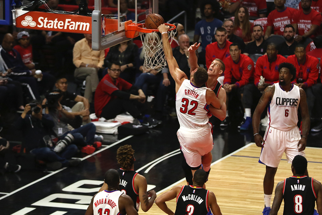 2016 NBA Playoffs Basketball (5) Portland Trail Blazers vs (4) Los Angeles Clippers at Staples Center in Los Angeles, Ca on April 17, 2016. (Photo by Jevone Moore/Full Image 360)