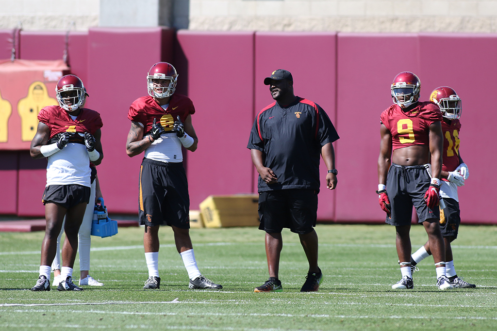 NCAA 2016 USC Trojans Spring Practice on campus in Los Angeles, CA. (Photo by Jevone Moore/Full Image 360)