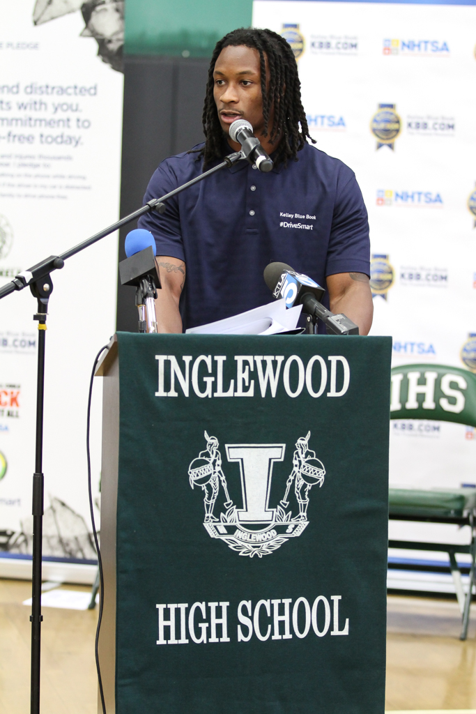 NFL Running Back of LA Rams Todd Gurley speaking at Kelley Blue Book Distracted Driving Awareness Event at Inglewood High School in Inglewood, Ca on April 21, 2016 (Photo by Jevone Moore/Full Image 360)