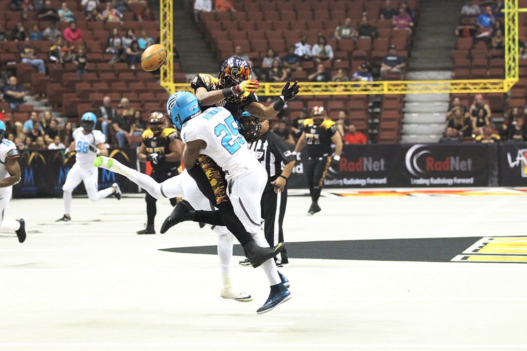 LA KISS WR separated from the ball in game verse Philadelphia Soul at the Honda Center in Anaheim, Ca. (Photo by Jordon Kelly / fi360 News)