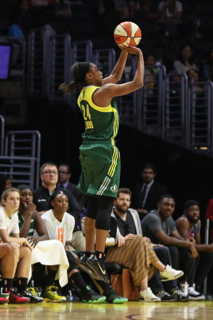 WNBA 2016: Seattle Storm vs Los Angeles Sparks opening game of 20th WNBA Season at Staples Center in Los Angeles, Ca on May 15, 2016. (Photo by Jevone Moore/Full Image 360)