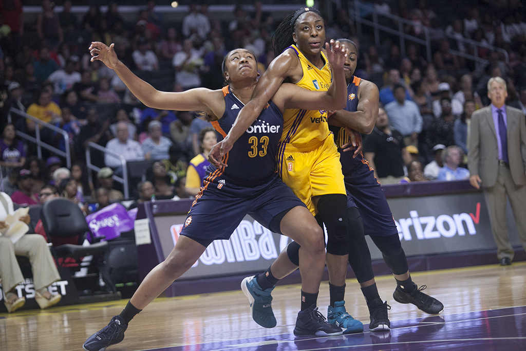 WNBA 2016: Nennka fighting for a rebound during Connecticut Sun vs Los Angeles Sparks game at Staples Center in Los Angeles, Ca on June 26, 2016. (All Photos by Curtis J. Moore / fi360 News)