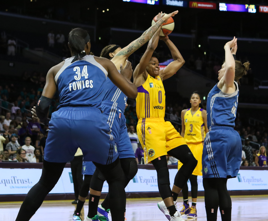 WNBA 2016:The Showdown Minnesota Lynx vs Los Angeles Sparks game at Staples Center in Los Angeles, Ca on June 21, 2016. (Photo by Jevone Moore/Full Image 360)