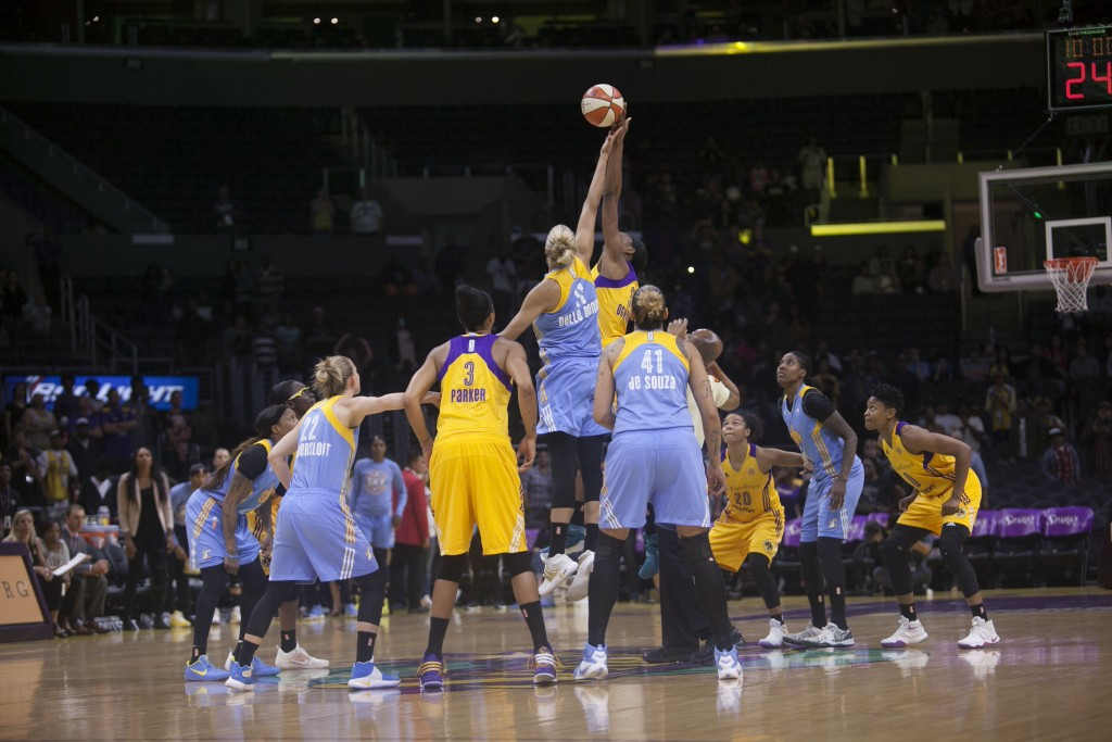 WNBA 2016: Chicago Sky vs Los Angeles Sparks game at Staples Center in Los Angeles, Ca on June 14, 2016. (Photo by Curtis J. Moore / fi360 News)