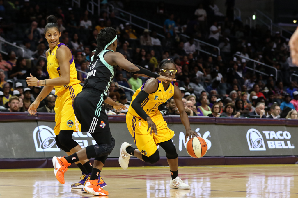 WNBA 2016: New York Liberty vs Los Angeles Sparks game during the 20th WNBA Season at Staples Center in Los Angeles, Ca on June 7, 2016. (Photo by Jevone Moore/Full Image 360)