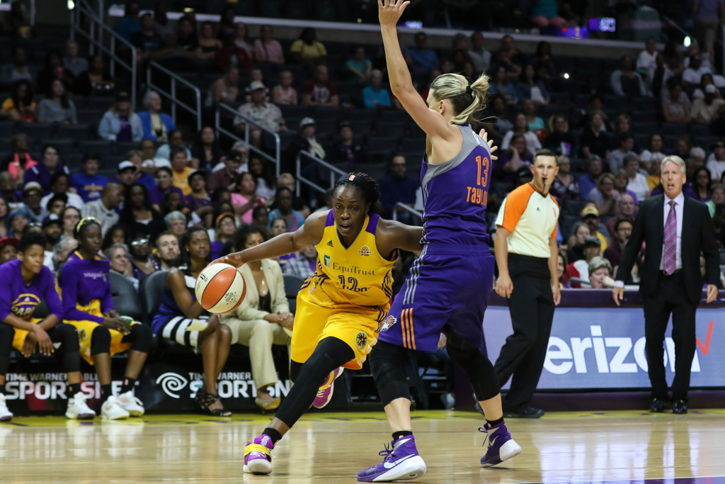 WNBA 2016: Phoenix Mercury vs Los Angeles Sparks game during the 20th WNBA Season at Staples Center in Los Angeles, Ca on June 17, 2016. (Photo by Jevone Moore/Full Image 360)