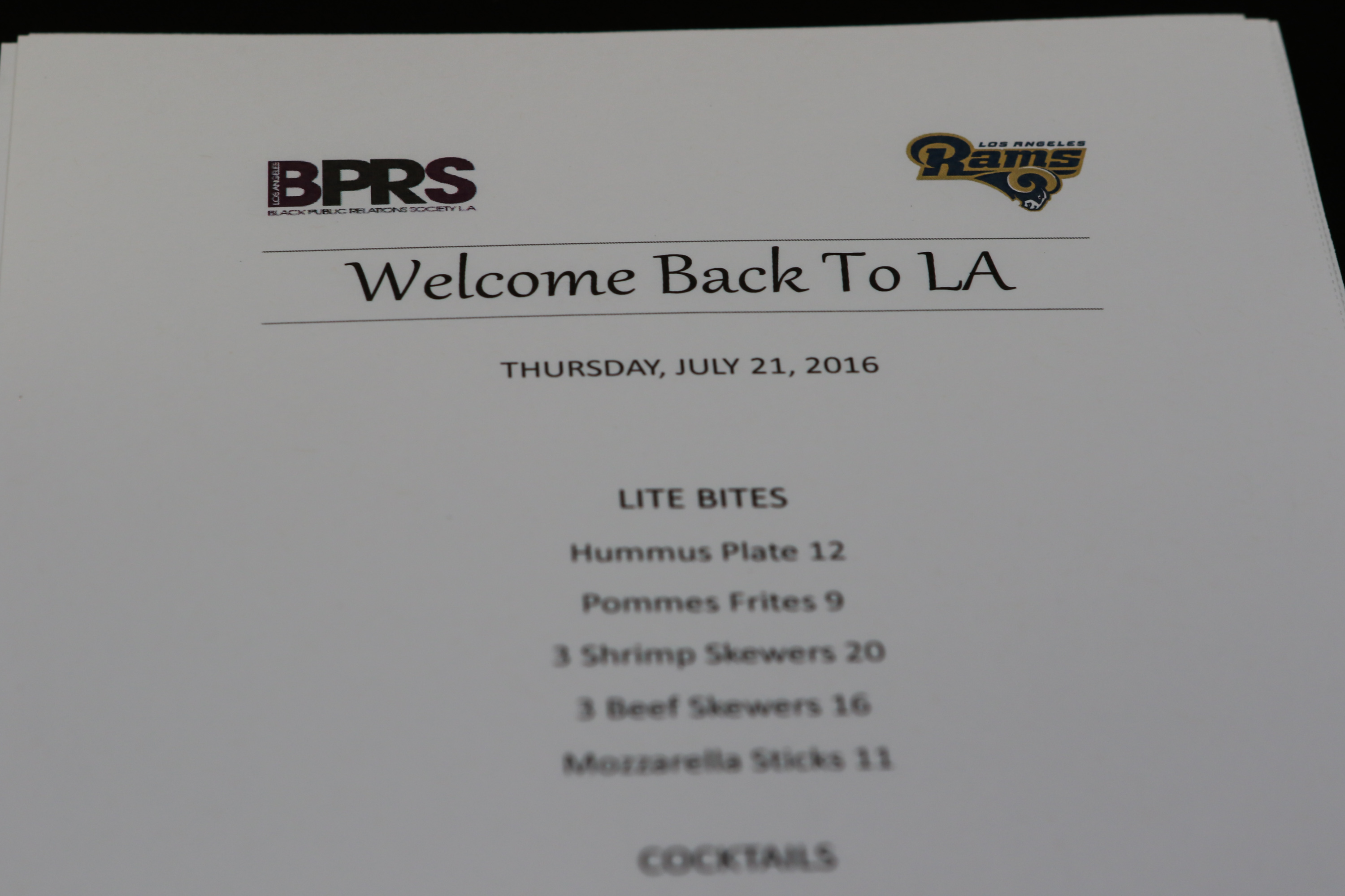 "The Black Public Relations Society of Los Angeles presents The Brand Building Series: ""Welcome Back to LA"" Cocktail Reception with The Los Angeles Rams Communication Team at Mosaic Hotel in Beverly Hills, Ca. on July 21, 2016. (Photo by Jevone Moore/Full Image 360)"