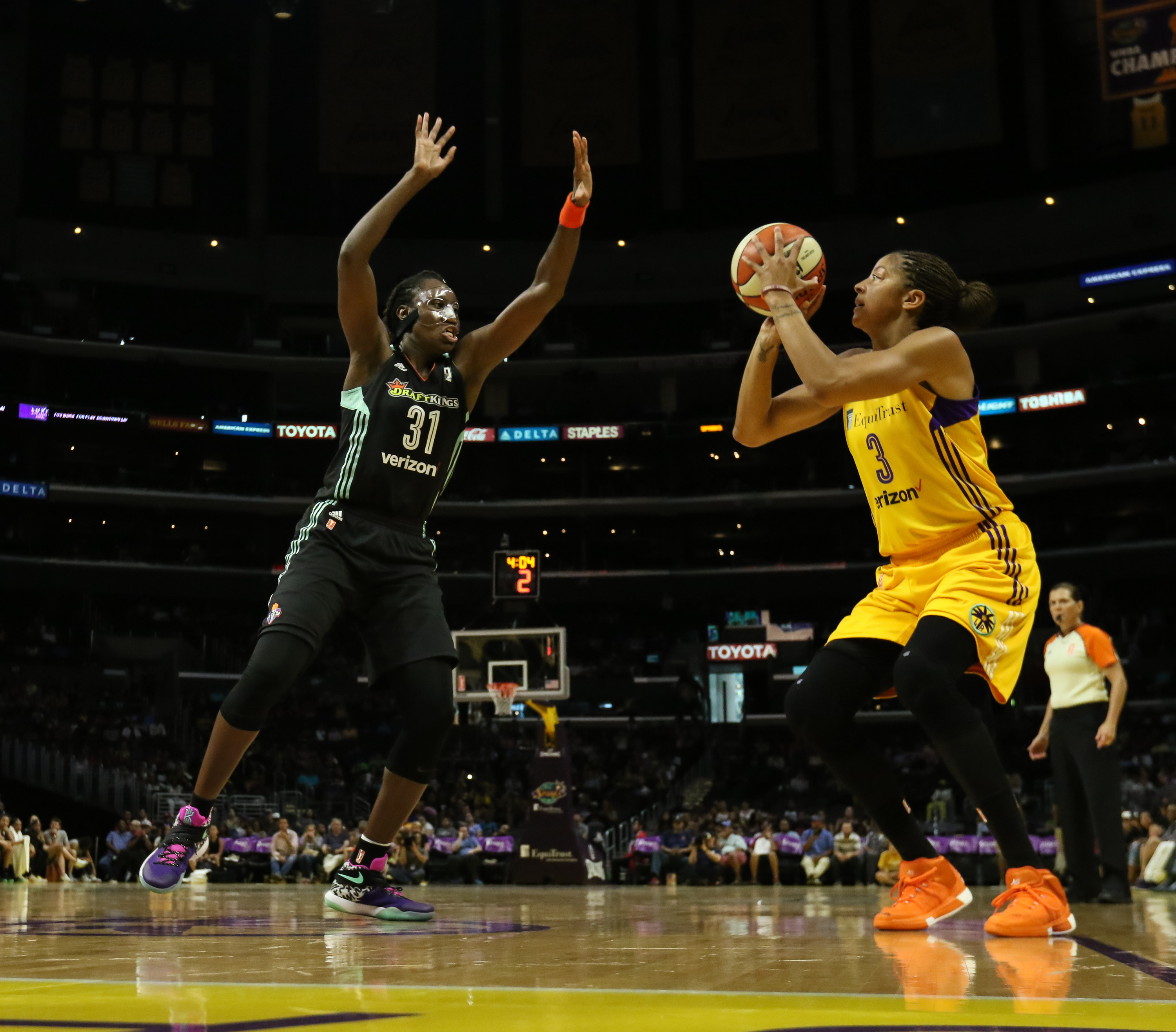 Candace Parker shooting on Tina Charles in the New York Liberty vs Los Angeles Sparks game at Staples Center in Los Angeles, Ca on July 3, 2016. (Photo by Jevone Moore/Full Image 360)