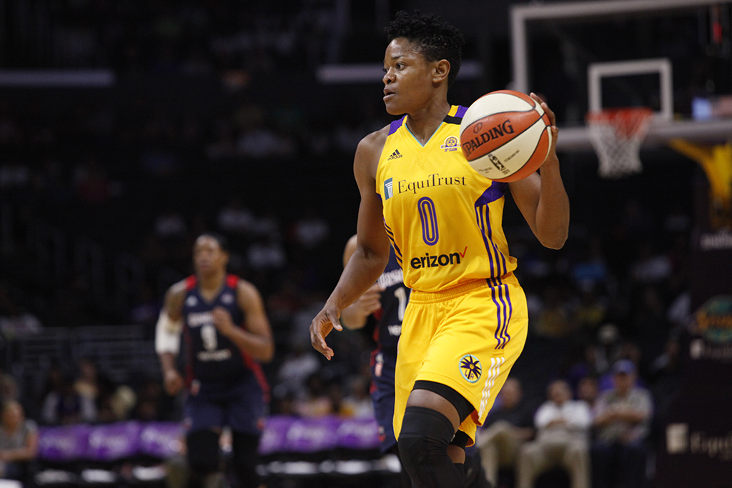 WNBA 2016: A. Beard on the wing to the basket during Connecticut Sun vs Los Angeles Sparks game at Staples Center in Los Angeles, Ca on July 10, 2016. (Photo by Curtis J. Moore / fi360 News)