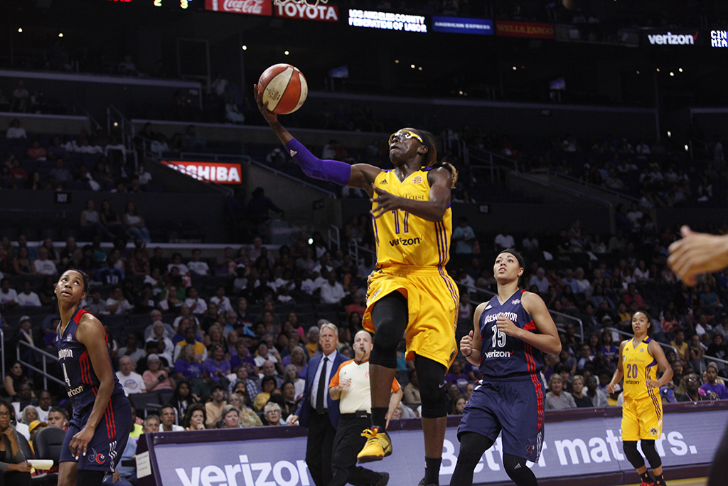 WNBA 2016: Essence Carson gliding to the basket during Connecticut Sun vs Los Angeles Sparks game at Staples Center in Los Angeles, Ca on July 10, 2016. (All Photos by Curtis J. Moore / fi360 News)