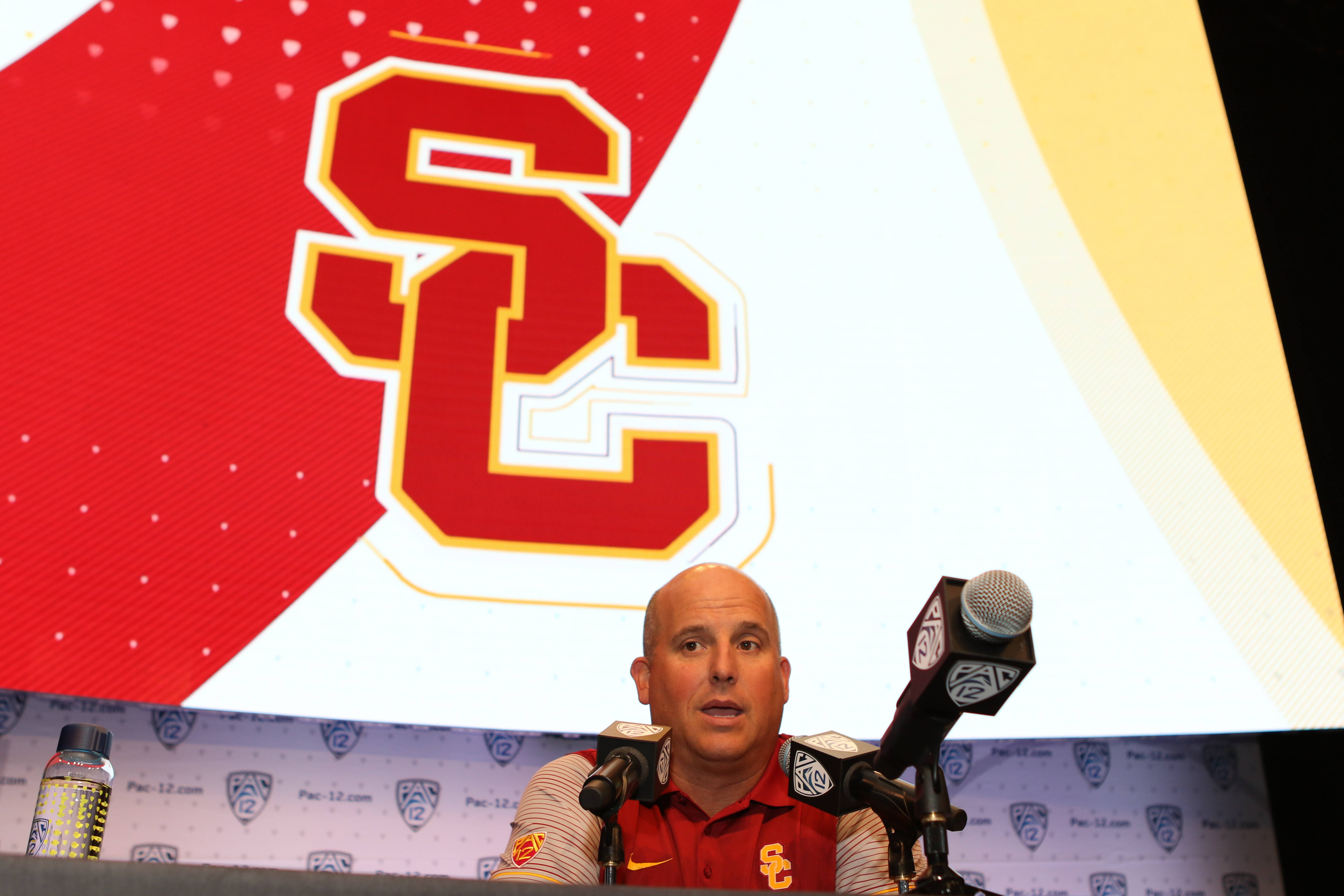 USC Head Coach Clay Helton during the PAC-12 Football Media Day 2016. Live at Ray Dolby Ballroom at the Hollywood and Highland Entertainment Center in Los Angeles, Ca. on July 14, 2016 (Photo by Jevone Moore/Full Image 360)