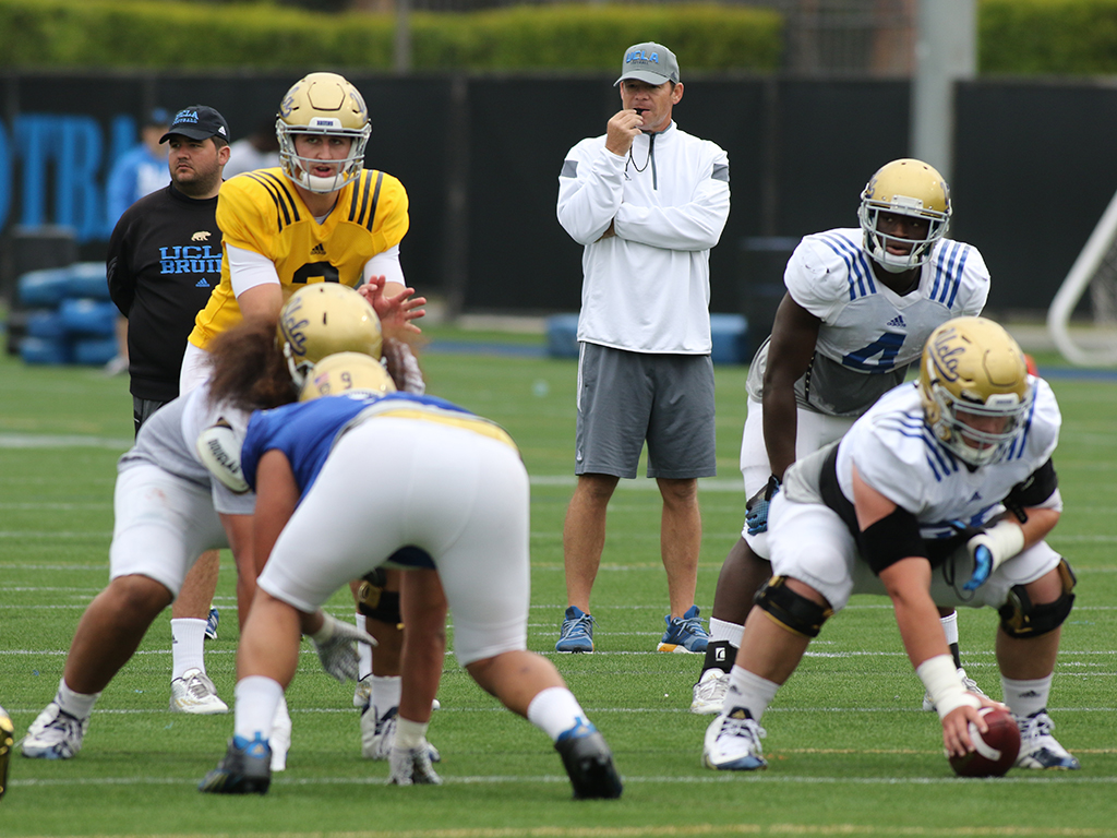 NCAA 2016 UCLA Football Spring Practice on April 13th on campus in Westwood, CA. (Photo by Jevone Moore/Full Image 360)