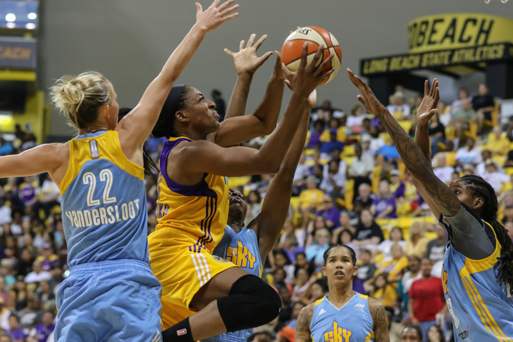 WNBA 2016: Chicago Sky vs Los Angeles Sparks game at Long Beach State in Long Beach, Ca on September 28, 2016. (Photo by Jevone Moore/Full Image 360)