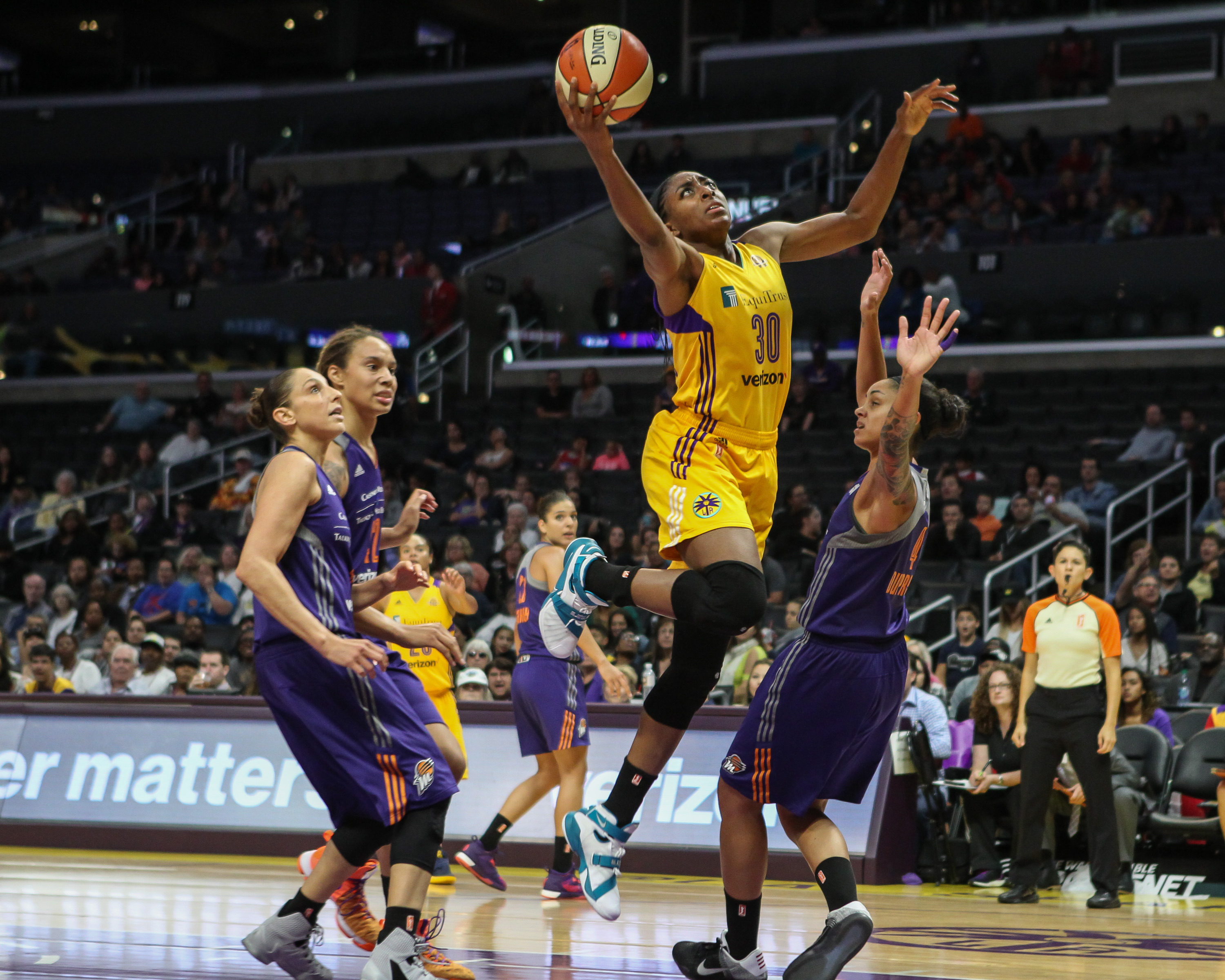 Nneka Ogwumike making her way to basket during the Phoenix Mercury vs Los Angeles Sparks game at Staples Center in Los Angeles, Ca on September 13, 2016. (Photo by Jevone Moore/Full Image 360)