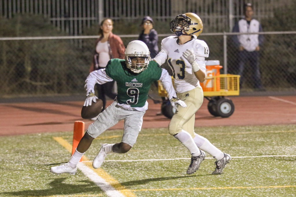 Receiver Eric Fuller celebrates after a touchdown during the Mater Dei Catholic vs Hawkins Hawks game action on September 16, 2016. (Photo by Jevone Moore/Full Image 360)