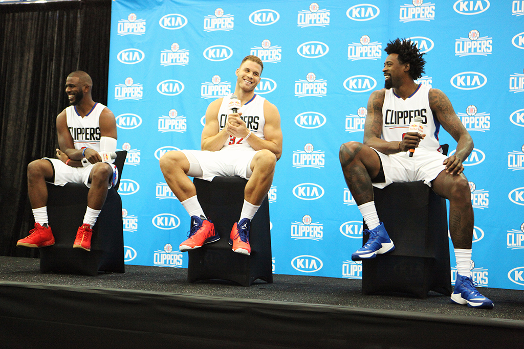 The Los Angeles Clippers Media Day 2016 with Chris Paul, Blake Griffin, and DeAndre Jordan on stage during question and answer period at the Clippers training facility in Playa Vista, Ca on Monday, Sept 26. (All Photos by William Johnson / fi360 News)
