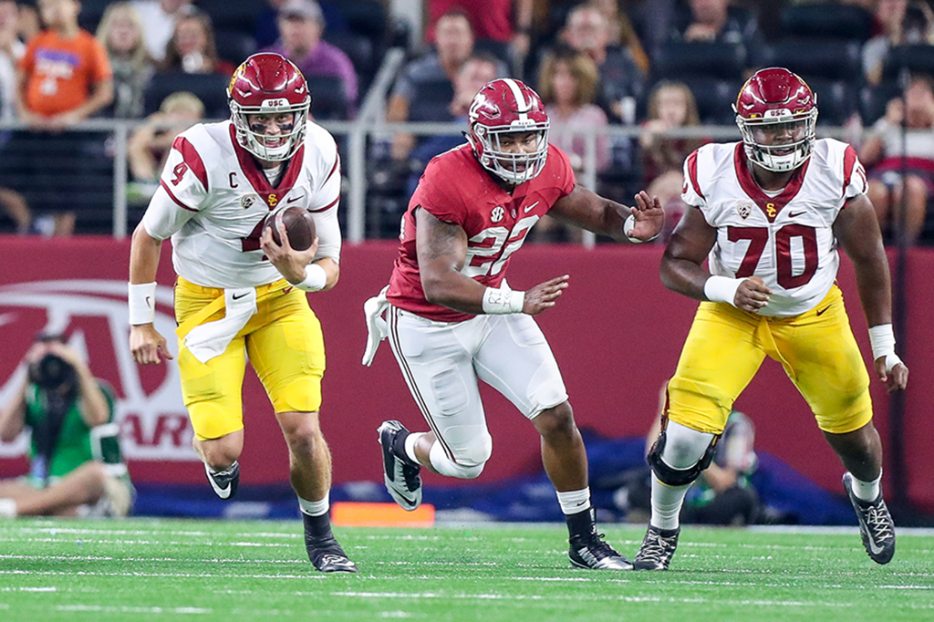 Trojans quarterback Max Brown breaking the pocket during the Advocare Classic USC vs Alabama on Sept 3rd, 2016 at AT&T Stadium in Arlington, TX. (Photo by Jordon Kelly / fi360 News)