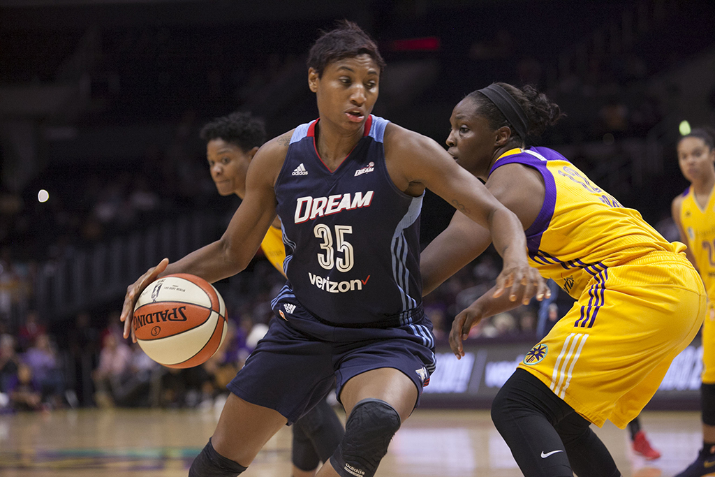 WNBA 2016: Angel McCoughtry driving to the basket during Atlanta Dream vs Los Angeles Sparks game at Staples Center in Los Angeles, Ca on September 8, 2016. (All Photos by Curtis J. Moore / fi360 News)