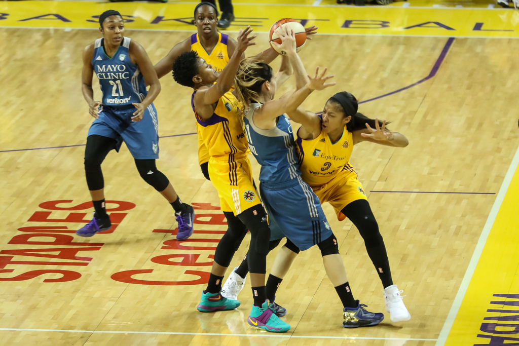 WNBA Finals 2016: Minnesota Lynx vs Los Angeles Sparks game at Galen Center in Los Angeles, Ca on October 14, 2016. (Photo by Jevone Moore/Full Image 360)