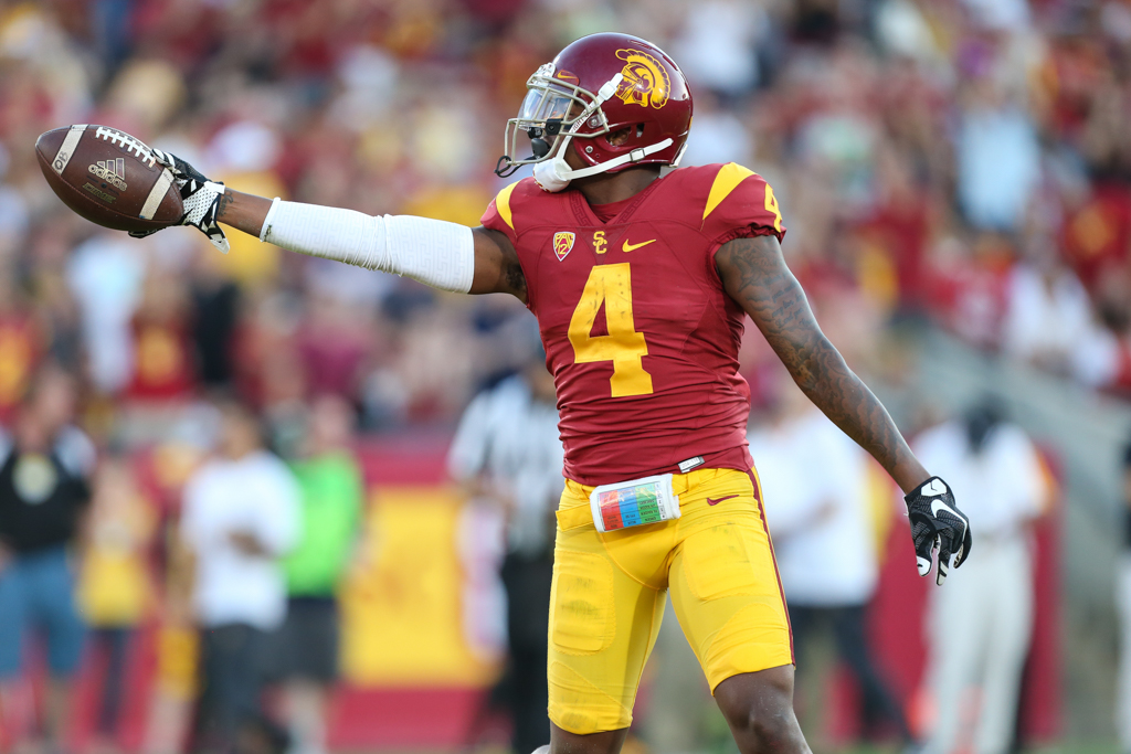 Defensive Back Chris Hawkins celebrating during the Arizona St vs USC on Oct. 1, 2016 at Los Angeles Memorial Coliseum, in Los Angeles, Ca. (Photo by Jordon Kelly / fi360 News)