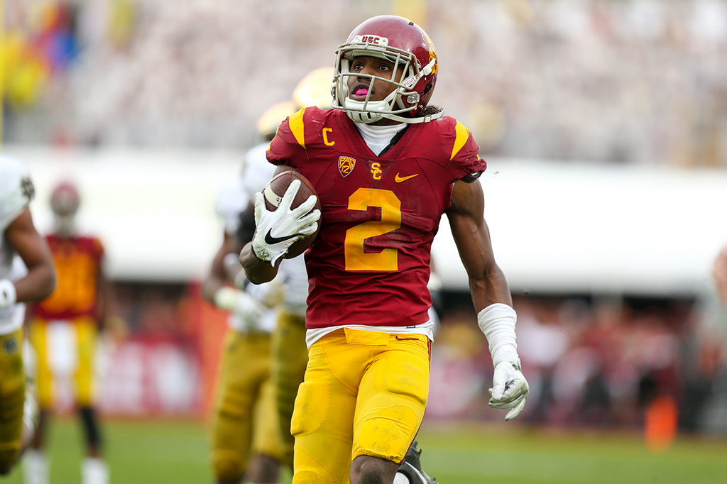 Adoree' Jackson looks at himself on jumbotron on way to 52 screen pass for a touchdown in the Norte Dame vs USC on Nov. 26, 2016 at Los Angeles Memorial Coliseum, in Los Angeles, Ca. (Photo by Jordon Kelly / fi360 News)