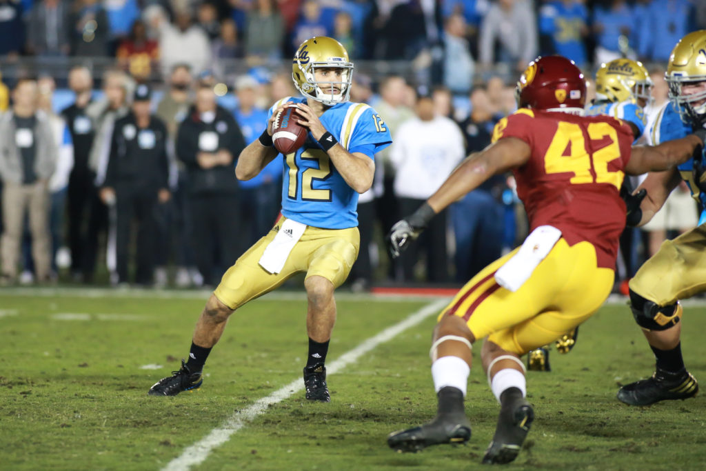 Mike Fafaul back to pass during the USC Trojans vs UCLA Bruins at Rose Bowl on November 19, 2016. (Photo by Jevone Moore/Full Image 360)