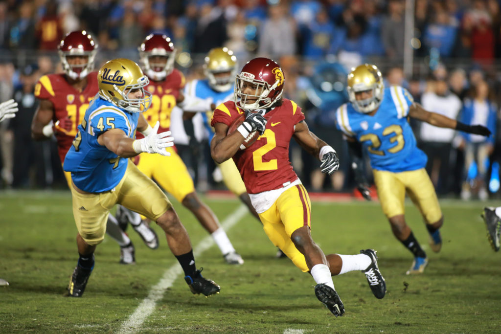 Adoree' Jackson turning the corner on a kickoff return during the USC Trojans vs UCLA Bruins at Rose Bowl on November 19, 2016. (Photo by Jevone Moore/Full Image 360)