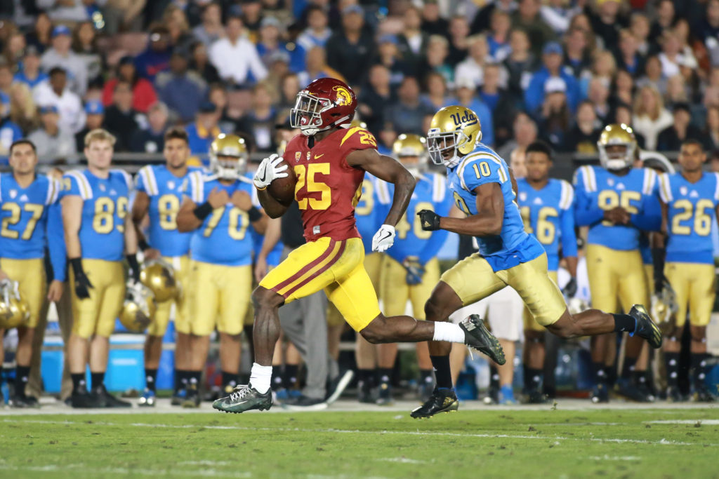 Ronald Jones II running away from the field to a touchdown during the USC Trojans vs UCLA Bruins at Rose Bowl on November 19, 2016. (Photo by Jevone Moore/Full Image 360)