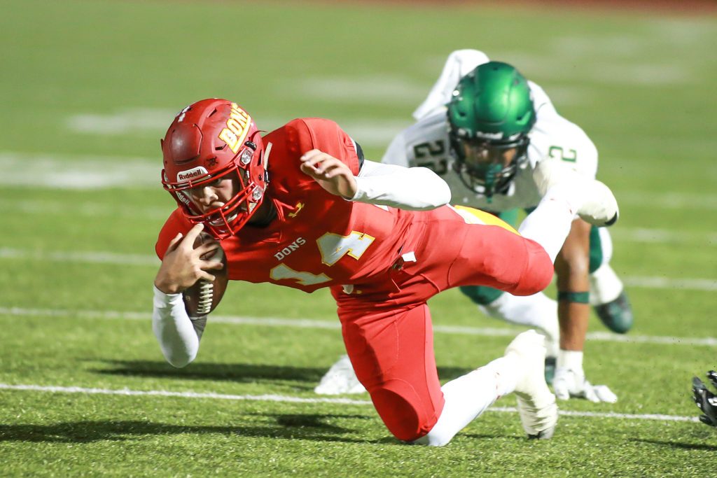 CIF State Division 1AA Regional High School Football Narbonne Gauchos vs Cathedral Catholic Dons game action at Manchester Stadium on December 9, 2016 (Photo by  Jevone Moore/Full Image 360)