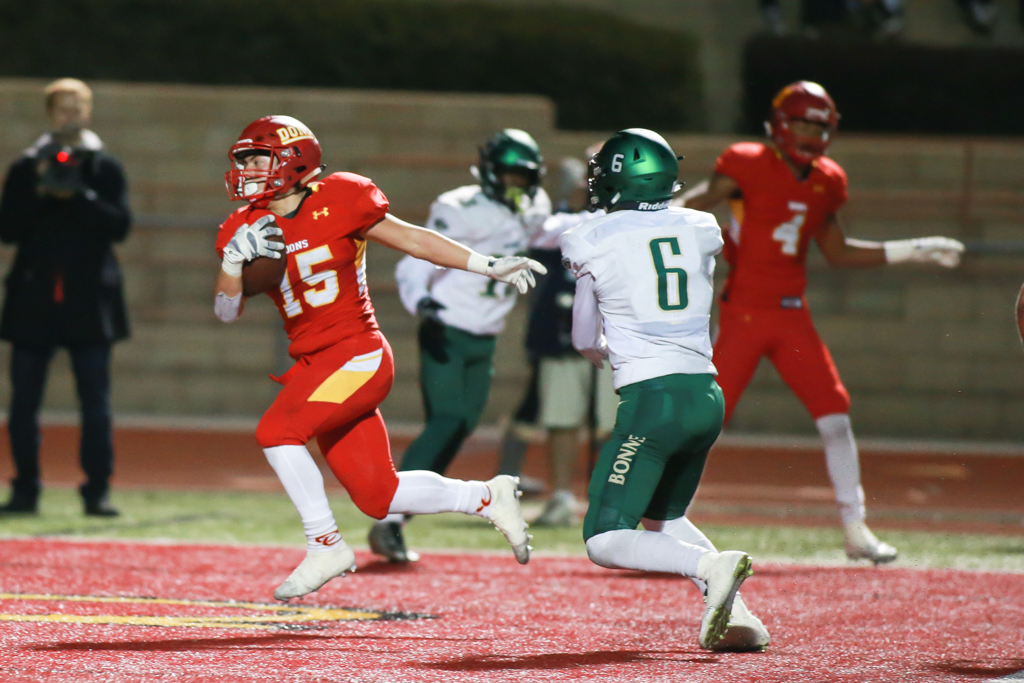 Cathedral Shawn Poma scoring a touchdown in CIF State Division 1AA Regional High School Football Narbonne Gauchos vs Cathedral Catholic Dons game action at Manchester Stadium on December 9, 2016 (Photo by Jevone Moore/Full Image 360)