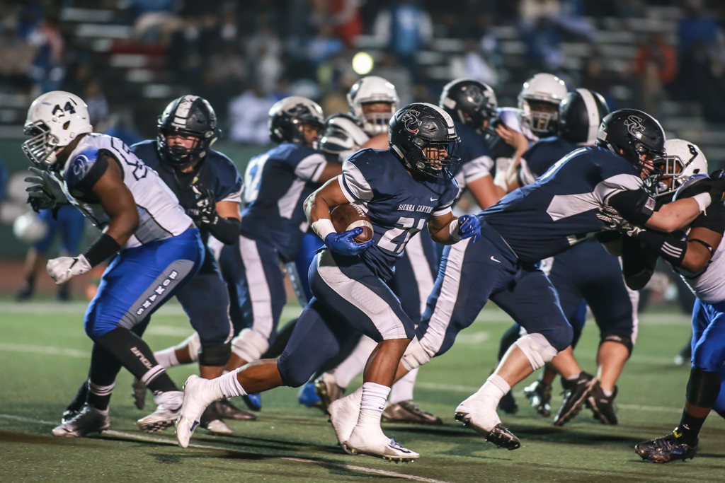 Sierra Canyon Bobby Cole following his blocking during CIF State Division 2A Regional High School Football Los Angeles High Romans vs Sierra Canyon Trailblazers game action at Granada Hills High on December 10, 2016 (Photo by Jevone Moore/Full Image 360)