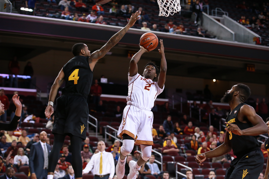 USC Trojans guard Jonah Mathews (2) pulls up for a jumper in the first half of game action during the college basketball game between the ASU Sun Devils vs USC Trojans at Galen Center in Los Angeles, CA. (Photo by Jevone Moore/Full Image 360)