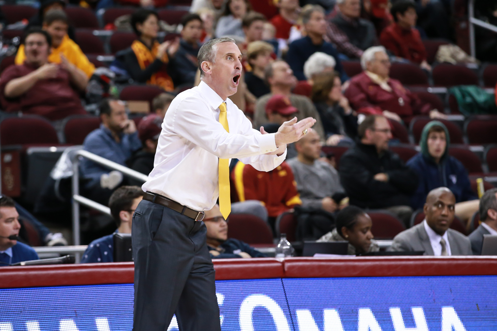 Arizona State Sun Devils head coach Bob Hurley arguing a call in the first half of the college basketball game between the ASU Sun Devils vs USC Trojans at Galen Center in Los Angeles, CA. (Photo by Jevone Moore/Full Image 360)