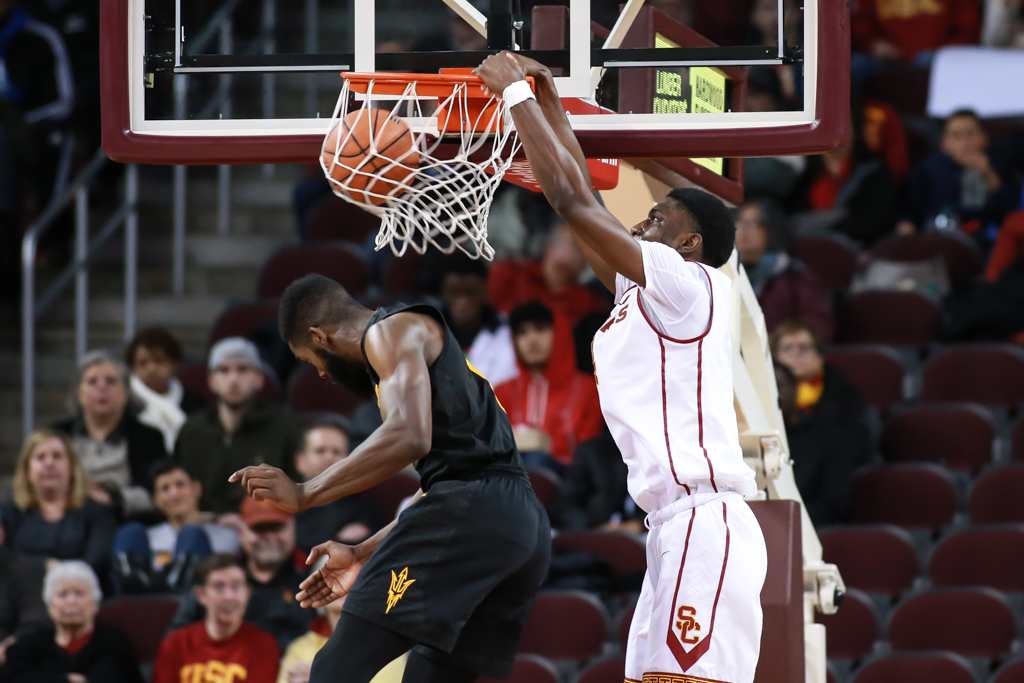 USC Trojans forward Chimezie Metu (4) dunking on Arizona State Sun Devils forward Obinna Oleka (5) in the second half of the game between the ASU Sun Devils vs USC Trojans at Galen Center in Los Angeles, CA. (Photo by Jevone Moore/Full Image 360)