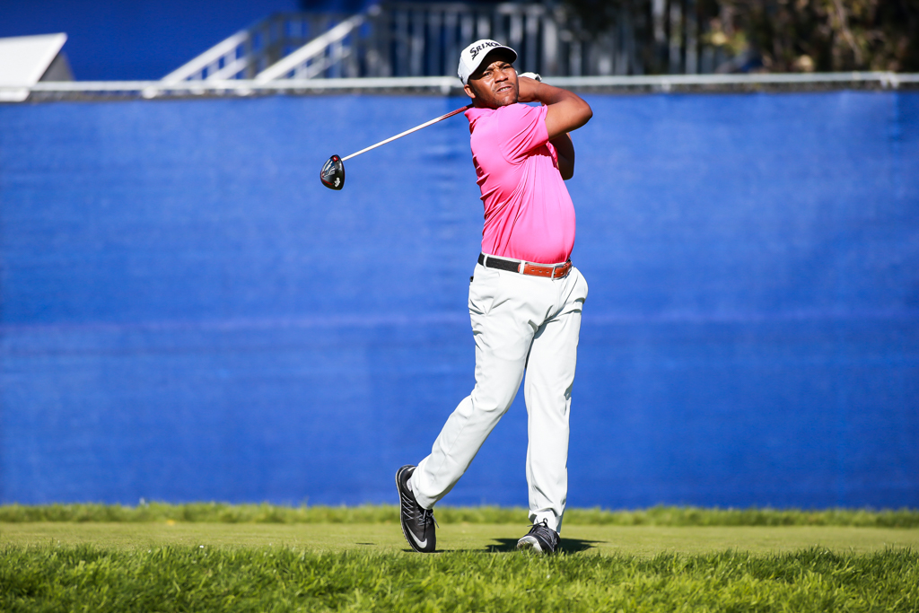 Harold Varner III watching his long drive off the 7th tee on the South Course in the first round action of PGA Golf during the Farmers Insurance Open at Torrey Pines in San Diego, CA on January 26, 2017. (Photo by Jevone Moore/Full Image 360)