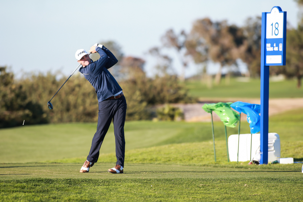 Trey Mullinax teeing off on 18th green after birding 17 on the North Course at Torrey Pines in San Diego, CA on January 26, 2017. (Photo by Jevone Moore/Full Image 360)