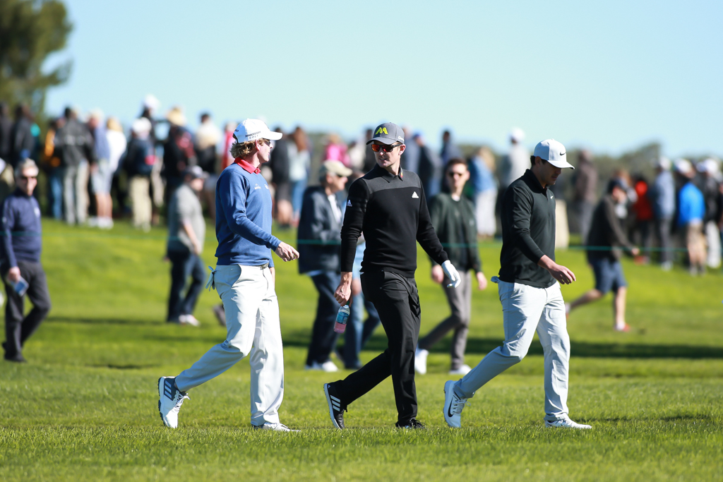 The leaders walking fairway on the South Course in the second round action of PGA Golf during the Farmers Insurance Open at Torrey Pines in San Diego, CA on January 27, 2017. (Photo by Jevone Moore/Full Image 360)