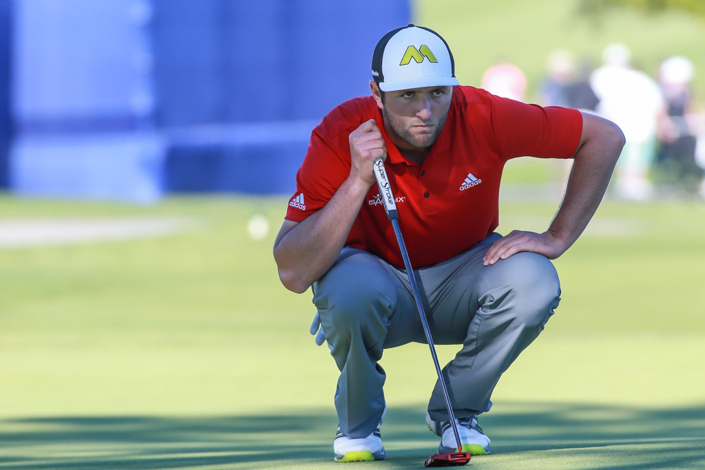 Jon Rahm zeroing in on the 16th hole par put on the South Course in the final round action of PGA Golf during the Farmers Insurance Open at Torrey Pines in San Diego, CA on January 29, 2017. (Photo by Jevone Moore/Full Image 360)