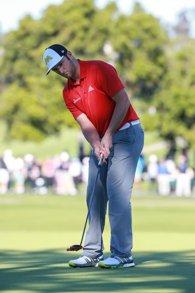 Jon Rahm putting on the South Course in the final round action of PGA Golf during the Farmers Insurance Open at Torrey Pines in San Diego, CA on January 29, 2017. (Photo by Jevone Moore/Full Image 360)