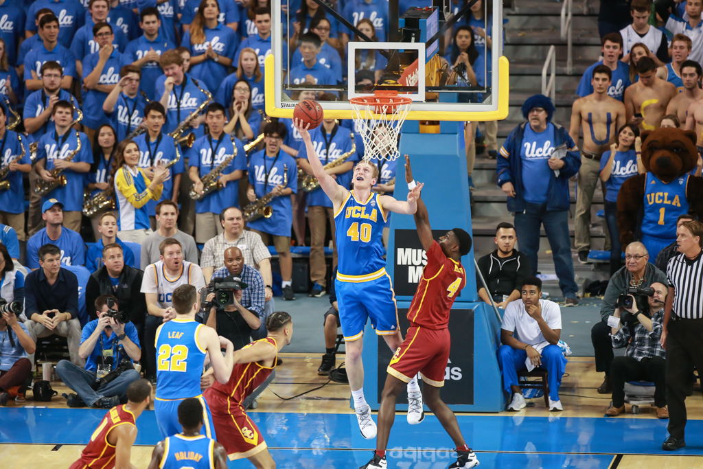 NCAA College Basketball first half game action during the college basketball game between the USC Trojans vs UCLA Bruins at Pauley Pavilion, Westwood, CA. (Photo by Jevone Moore/Full Image 360)