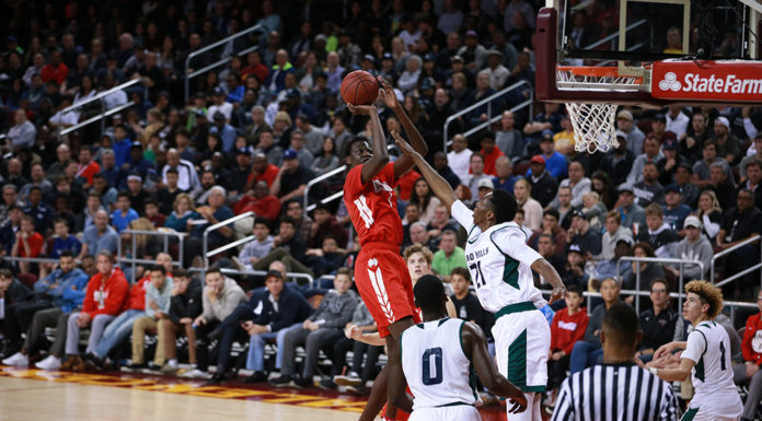 Mater Dei Bol Bol in the lane shooting during the CIFSS High School Semi finals Basketball against Chino Hills in a doubleheader on February 24, at Galen Center in Los Angeles, CA. (Photo by Jevone Moore/Full Image 360)