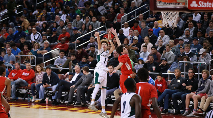 Lamelo Ball shooting from deep during the CIFSS High School Semi finals Basketball doubleheader on February 24, at Galen Center in Los Angeles, CA. (Photo by Jevone Moore/Full Image 360)