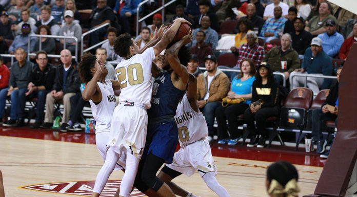 Bishop Montgomery team defense on Sierra Canyon star CIFSS High School Semi finals Basketball doubleheader on February 24, at Galen Center in Los Angeles, CA. (Photo by Jevone Moore/Full Image 360)