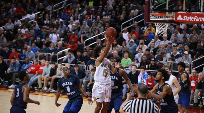 Ethan Thompson in the lane during the Bishop Montgomery vs Sierra Canyon CIFSS High School Semi finals Basketball doubleheader on February 24, at Galen Center in Los Angeles, CA. (Photo by Jevone Moore/Full Image 360)