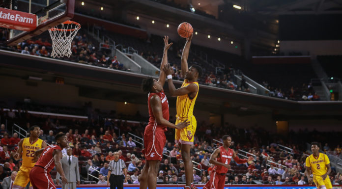 USC Chimezie Metu shooting over Robert Franks in the first half of the NCAA College Basketball game action during the college basketball game between the Washington State Cougars vs USC Trojans at Galen Center in Los Angeles, CA. (Photo by Jevone Moore/Full Image 360)